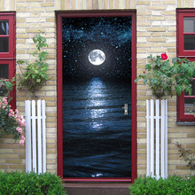 Sea Night Moon 3D decoration glass door beauty image door sticker bedroom wooden door home decoration waterproof sticker 3d zebra door sticker