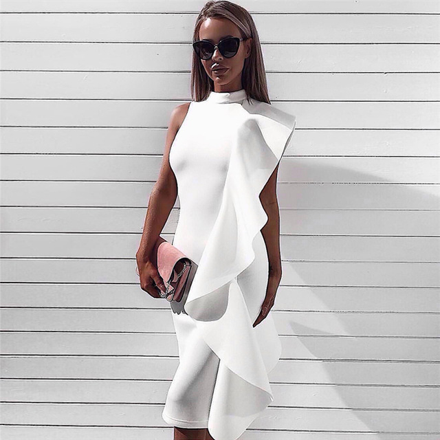 Fashion Nova Gown Frill Sleeveless High Neck O Neckline Bodycon Midi Evening Party Side White