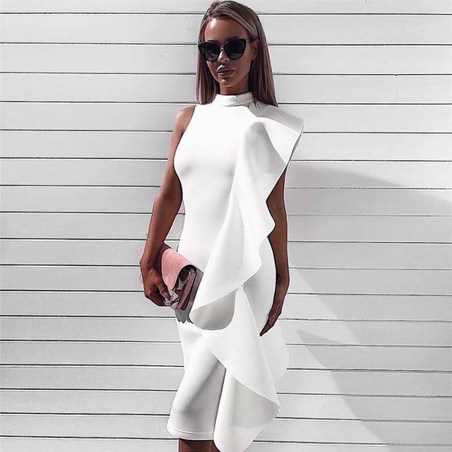 3e06b03ac4 2018 Fashion Nova Gown Frill Sleeveless High Neck O Neckline Bodycon Midi  Evening Party Side White Ruffled Dress for Women