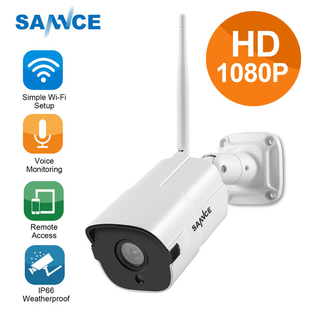 SANNCE HD 1080P IP Camera Wireless Wifi Bullet Camara Outdoor Waterproof Night Vision IR Cut P2P Home Security Camara 2018
