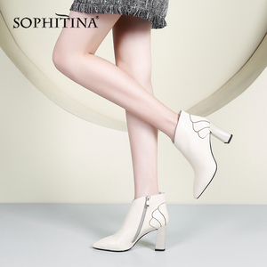 Image 4 - SOPHITINA New Ankle Woman Boots High Quality Genuine Leather Sexy Pointed Toe Comfortable Square Heel Shoes Elegant Boots PO216