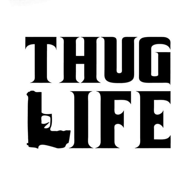 15 2cm11 6cm thug life sticker tupac gangster funny hater shakur car gun decals