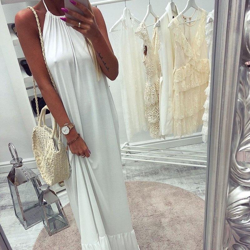 Woman Beach Dress Fashion Womens Casual loose Halter Sexy Backless Clothes White Black Falbala Sundress Long Maxi Dress