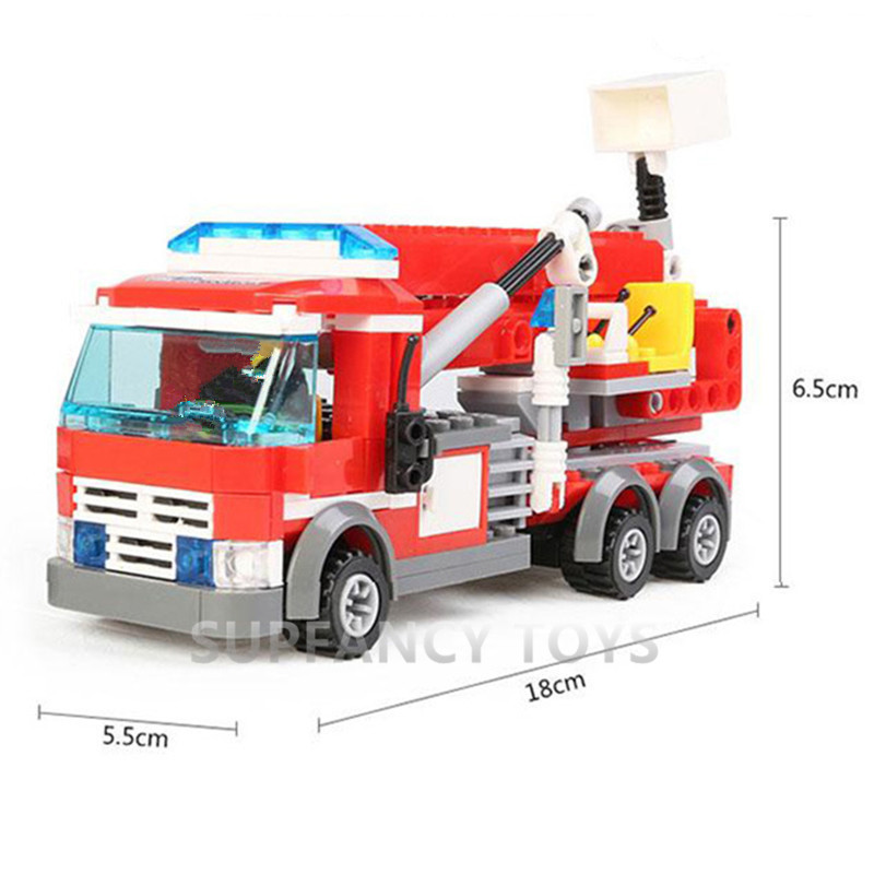 244Pcs City Firefighter Aerial Ladder Truck Car Building Blocks LegoINGs Construction Playmobil Toys for Children Christmas Gift
