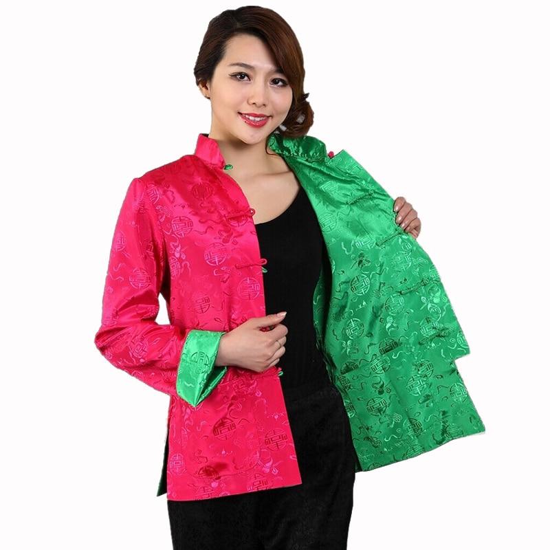 d2bf6be3d2b Vintage Reversible Chinese Women Silk Satin Jacket Single Breasted Coat Tai  Chi Kungfu Clothing Size S M L XL XXL XXXL M-78