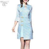 ElaCentelha Women Printed Dresses 2017 Early Autumn China Retro Cheongsam Vintage Slim Bodycon Dress Above Knee