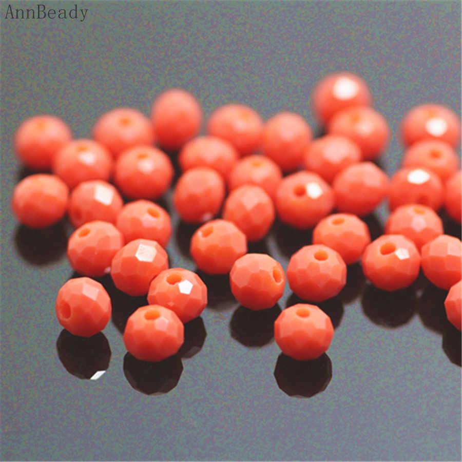 AnnBeady Feste Korallen rot Farbe 3*4mm 145 stücke Rondelle Österreich facettierte Kristall Glas Perlen Lose Spacer Perlen schmuck Machen
