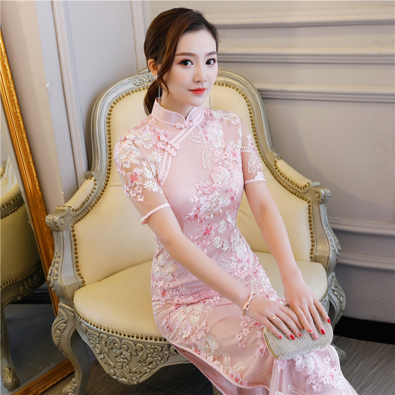 Shanghai Story chinese traditional clothing chinese style dresses long Cheongsam Short Sleeve Floral Embroidery Lace Qipao