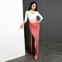 2019 Belly Dance Dress Mid Sleeve Knit Long Dresses Women Professional Belly Dancing Outfits Oriental Exotic Dancewear DN2826