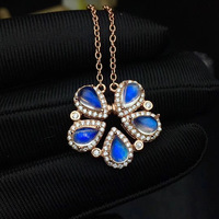 natural blue moonstone 4mm*6mm sliver pendant for girl and women