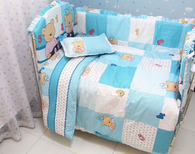Фото Promotion! 7pcs Crib Bedding Set 100% Cotton Printed Baby Bedding (bumper+duvet+matress+pillow). Купить в РФ