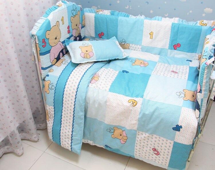 Promotion! 7pcs Crib Bedding Set 100% Cotton Printed Baby Bedding (bumper+duvet+matress+pillow)