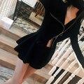OFTBUY 2017 новых базовых мода кадрированные весна рябить sexy тонкий кардиганы черный шерсть вязаный свитер женщины партия трикотаж пальто