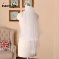 Lover Kiss Sparkly 2 Layers Short Wedding Veil Beading Edge White Ivory Tulle Bridal Gowns Accesories Weddings voile de