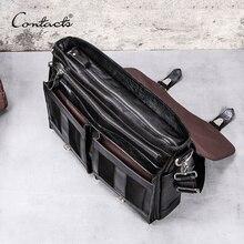 CONTACT'S натуральная кожа деловая вместительная сумка портфель для ноутбука 13 инч, черного цвета повседневная сумка для мужчин