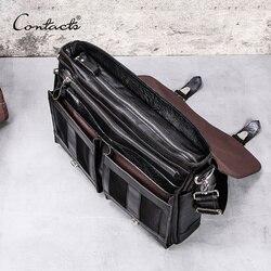 CONTACT'S gemüse leder männer aktentasche für anwälte 13 zoll laptop handtasche ipad große vintage business männlich umhängetasche Schwarz