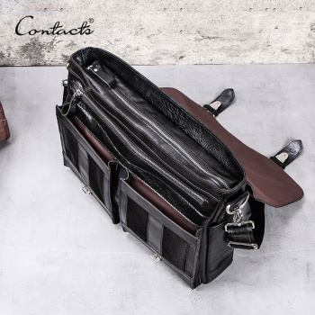 CONTACT'S vegetable leather men briefcase for lawyers 13inch laptop handbag ipad large vintage business male messenger bag Black