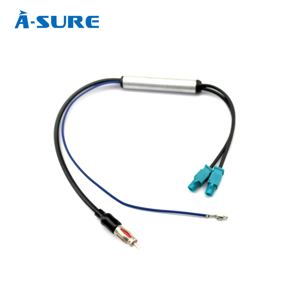 a sure radio antenna double fakra radio signal amplifier booster amp to din for vw audi