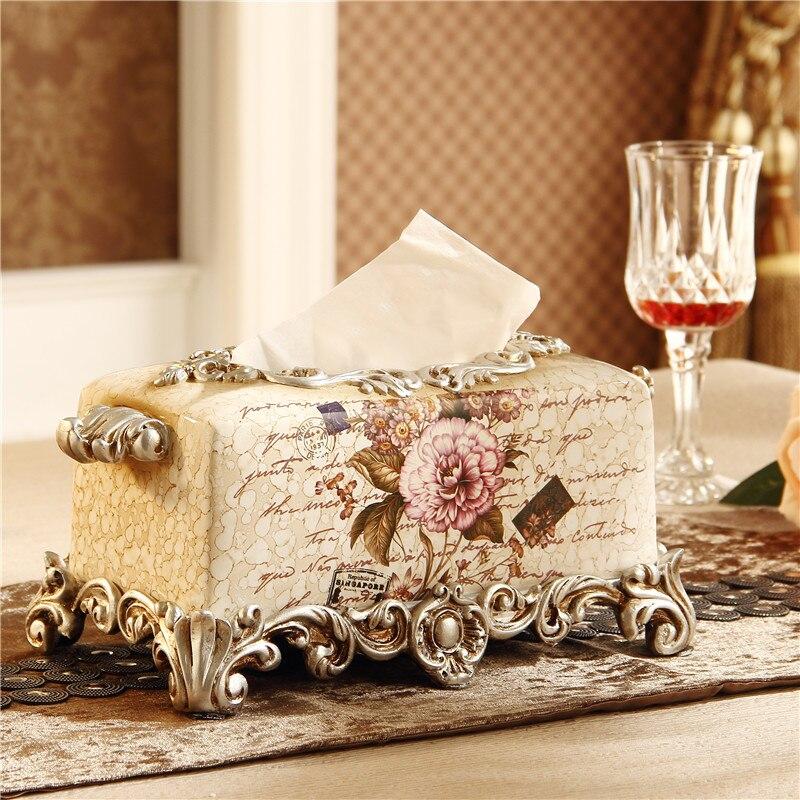Obývací pokoj v evropském stylu, dekorace do interiéru domácího vybavení pryskyřice luxusní retro stolní úložný box