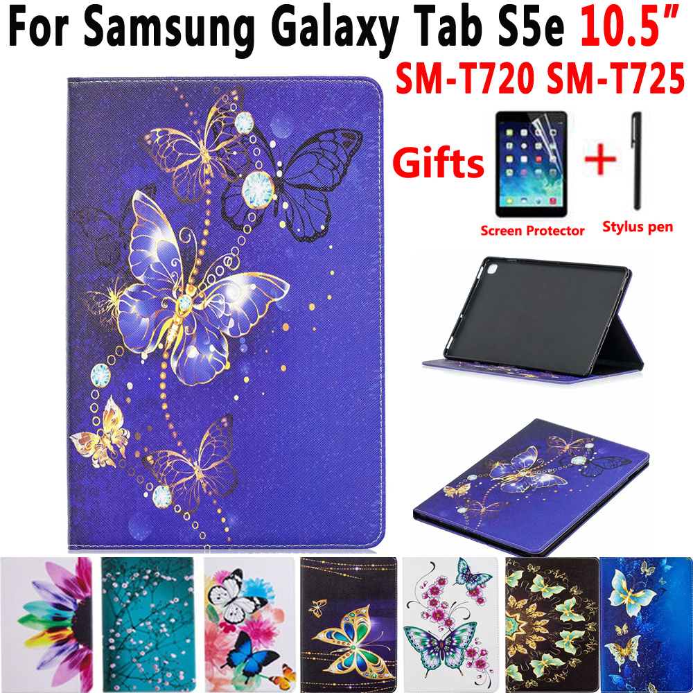 <font><b>Case</b></font> For Samsung Galaxy Tab S5e 10.5 2019 <font><b>T720</b></font> T725 SM-<font><b>T720</b></font> SM-T725 Cover Funda Tablet Painted Shockproof Stand Shell +Film+Pen image