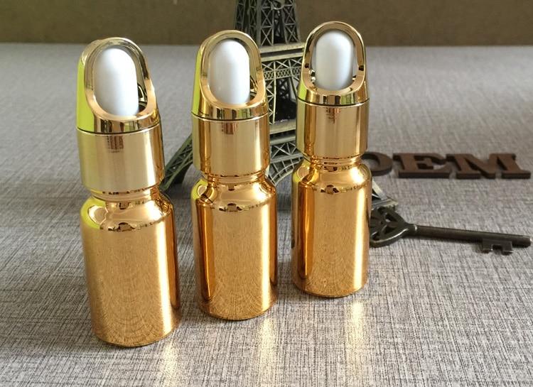 50 pecas 10 ml alta temperatura banhado a ouro frasco conta gotas garrafa de oleo essentical