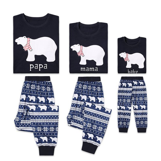Family Matching Clothes 2018 New Parent-child Suit Mother Dad Son Christmas Bear Pajamas Printed Family Look Pyjamas Sets QZ046