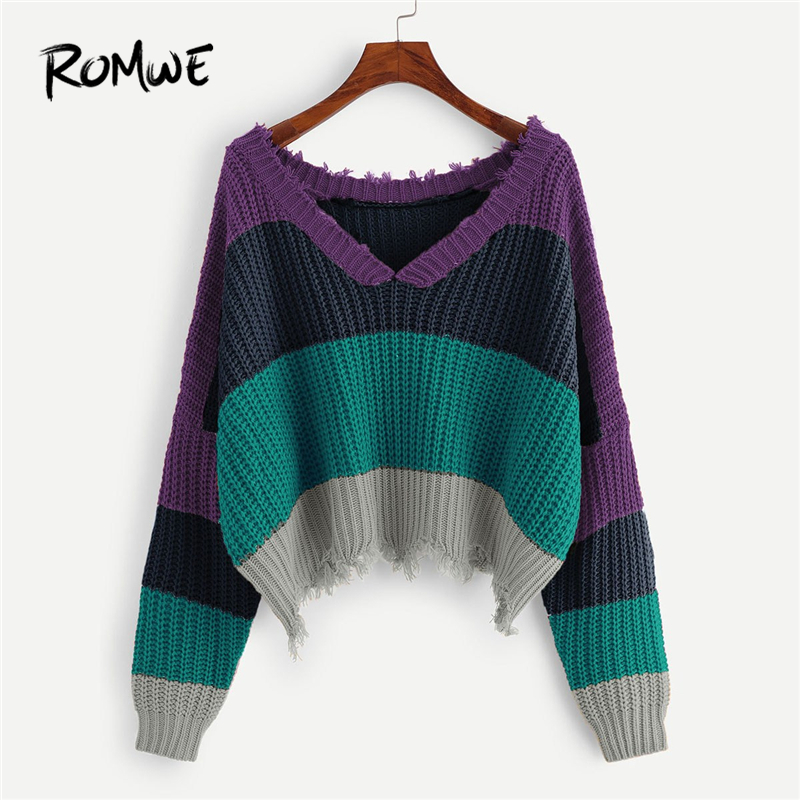 ROMWE Color Block Sweaters Fashion 2019 Women Casual Autumn Clothes Womans  Sweater Tops Ladies V Neck 014049aaa