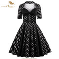 SISHION Women Summer Retro Vintage Dress Plus Size Women Clothing 50s 60s Swing Short Sleeve Patchwork Party Black Dress VD0442