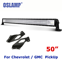 Oslamp For Chevrolet Silverado/GMC Sierra Remodel 702W 50 4X4 Driving Led Light Bar Auto Work LED Bar + Roof Mounting Brackets