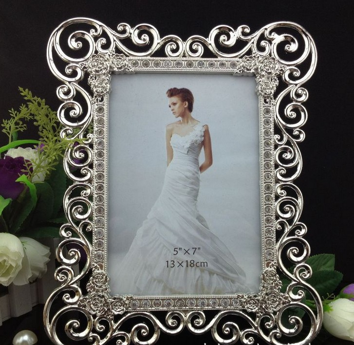 High End 8x10 Inch Sided Rectangle Metal Wedding Frames Silver Box Modern Picture Frame W Art Rhinestones In From Home Garden On Aliexpress