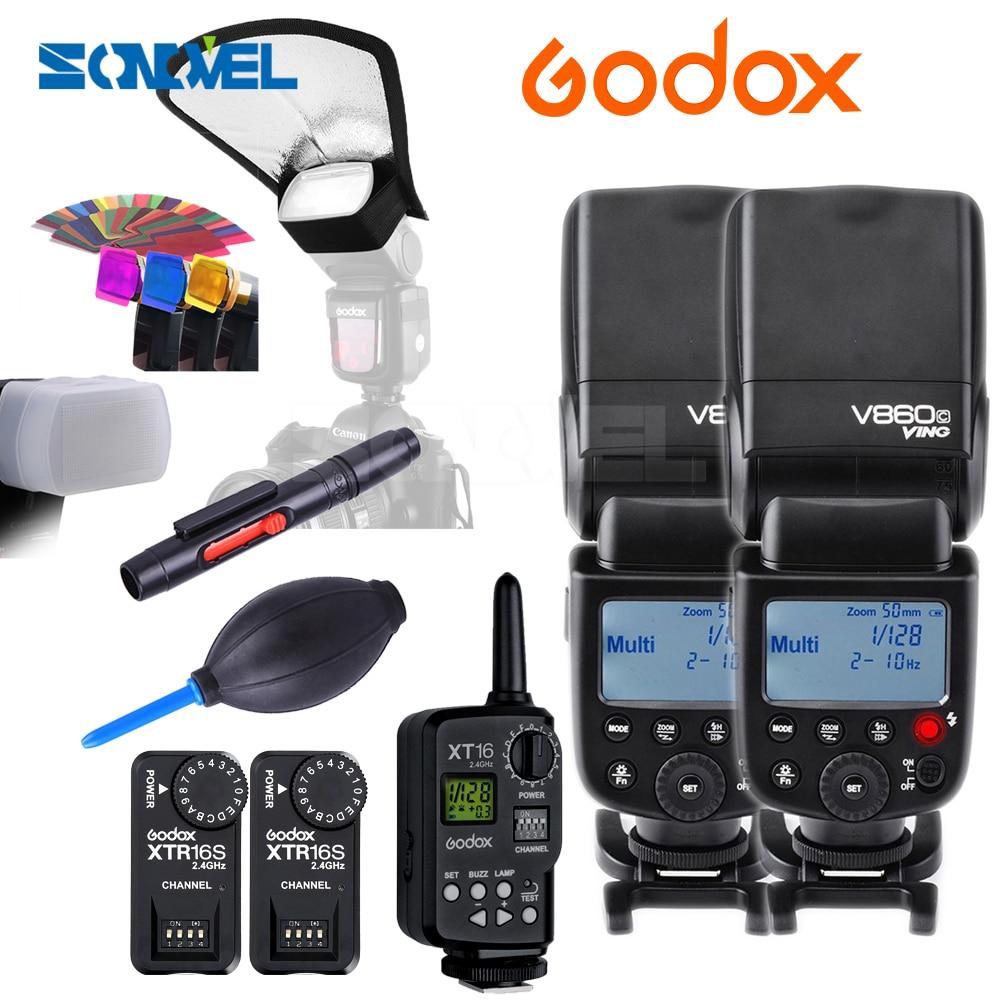 Godox  2x V860C Li-ion Flash Speedlite 2.4G 1/8000s+ FT-16S Power Control Wireless Trigger Kit For Canon M6  6d 7d 5d Mark III 2x godox v860c new li ion speedlite flash 1x ft 16s wireless trigger transimitter 2x receiver