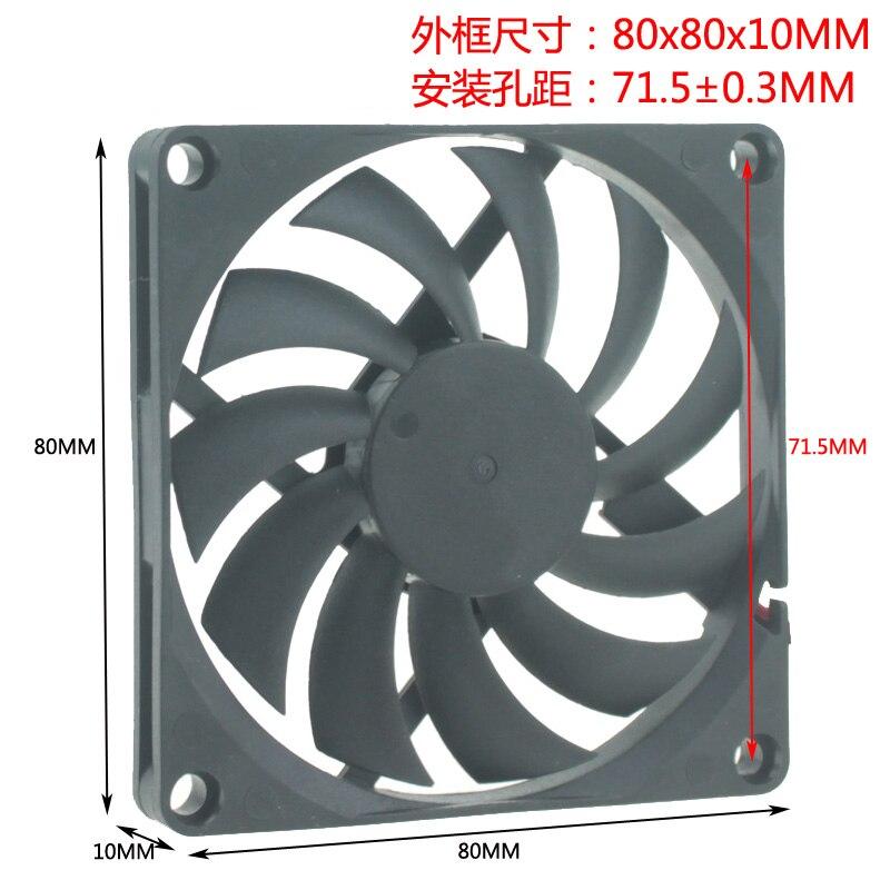 Ультра тонкий безщеточный вентилятор охлаждения, 5 в постоянного тока 12 В 24 в 8 см 80X80X10 Кулеры/вентиляторы/системы охлаждения      АлиЭкспресс