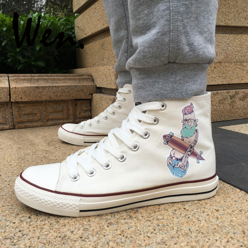 97afc12d2 ون الرجال المرأة حذاء قماش تصميم الصخور و لفة محب الطابع عالية أعلى أحذية  رياضية بيضاء Plimsolls عيد الميلاد هدايا عيد الميلاد