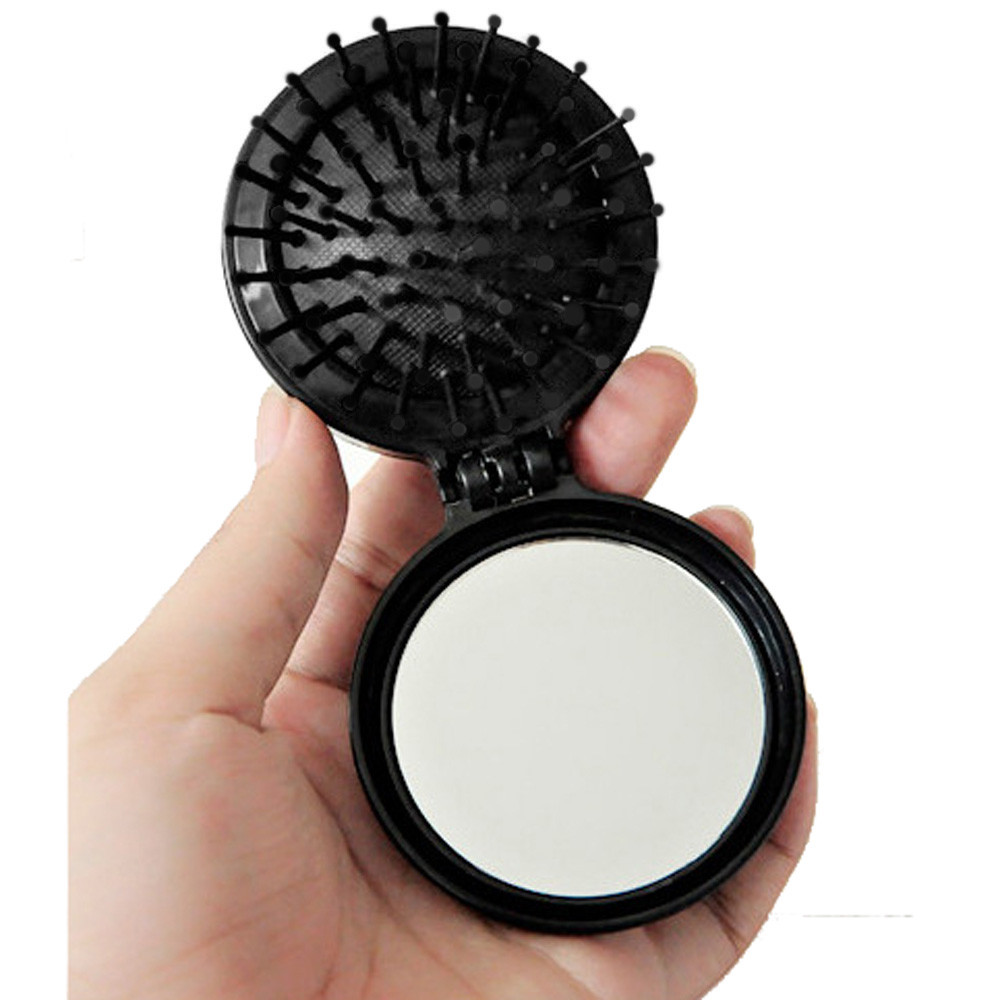 HUAMIANLI Pocket Size Travel Brush Fashion Massage Hair Folding Mirror Comb Air Bag Drop Shipping F23 HW vintage style portable folding airbag massage comb with mirror