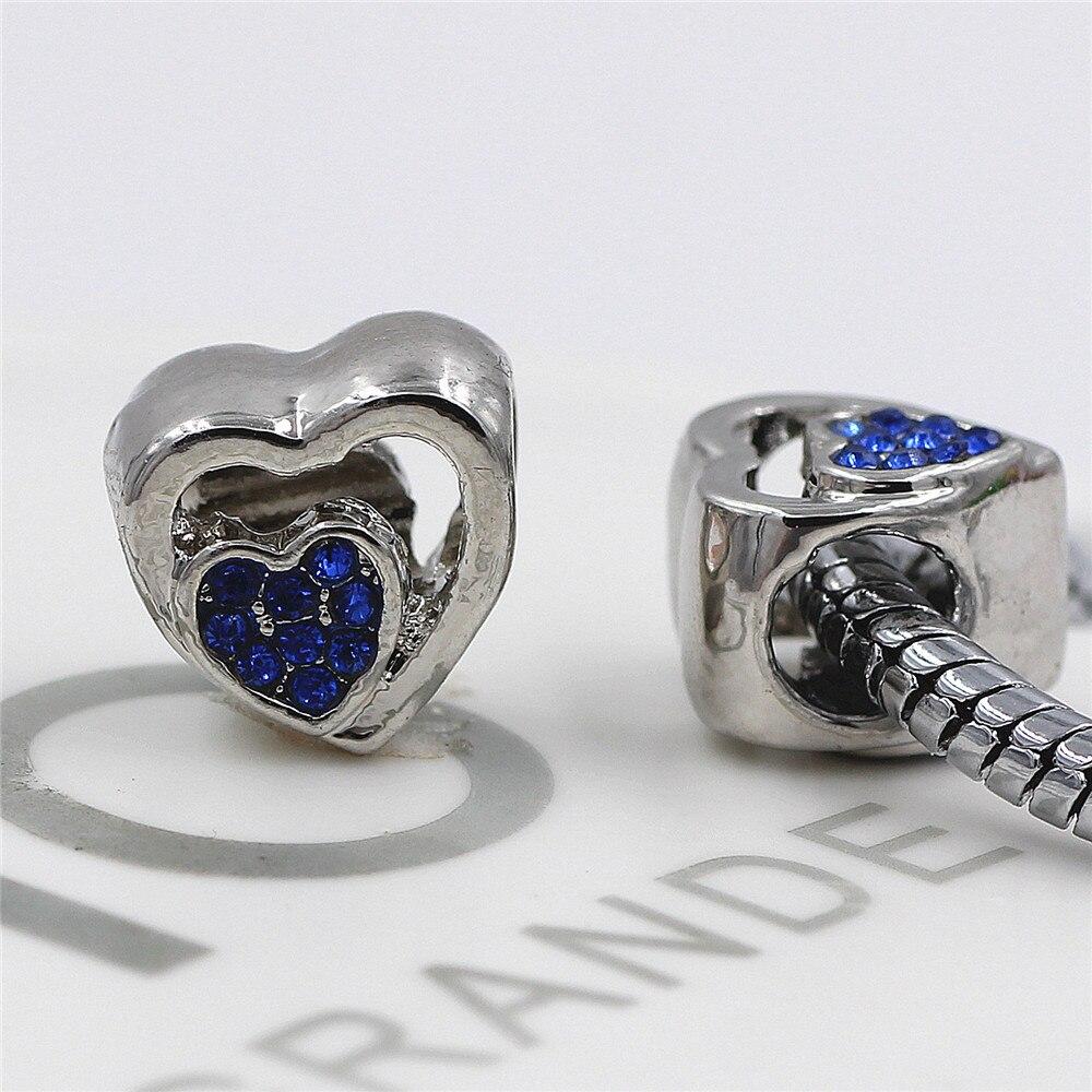 5 Farben Herz-form Strass Hohle Perlen Fit Ursprüngliche Pandora Armband Diy Großes Loch Charme Silber Farbe Herz Perlen Für Mama