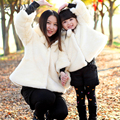Fake Fur Mother Daughter Coats Warm Family Matching Outfits Look Clothes Cotton Mom And Daughter Baby Girls Coat Outerwear G291