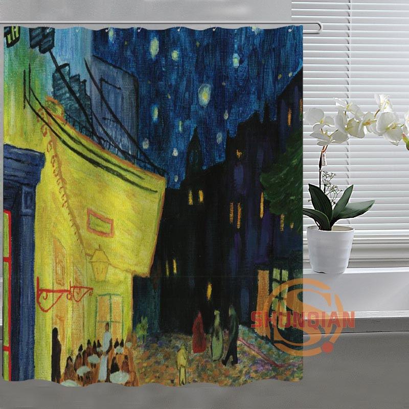 Van Gogh Starry Night Custom Shower Curtain Bathroom Fabric For Bathroom  Decor Bathroom Curtain Acceptable Custom Bath Screens In Shower Curtains  From Home ...