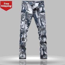 Осень камуфляж печати тонкий мужские джинсы 1 джинсы брюки человек прямо персонализированные luxury brand мода упругие Ноги брюки