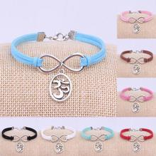 Adjustable Antique Silver Yoga symbol Charms Pendant Leather Infinity Bracelet