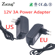 Power Adapter Supply 12V 3A Transformer Charger Supply EU Plug US Plug For RGB Led Strip Switch AC To Out Put 100 - 220V DC