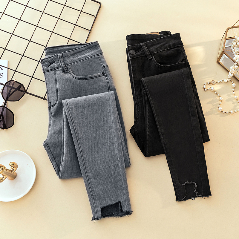 2018 Gray Black Ripped Skinny Pencil   Jeans   Woman Plus Size High Waist Mom Stretch   jeans   Ladies Denim Trousers Women   jean   femme
