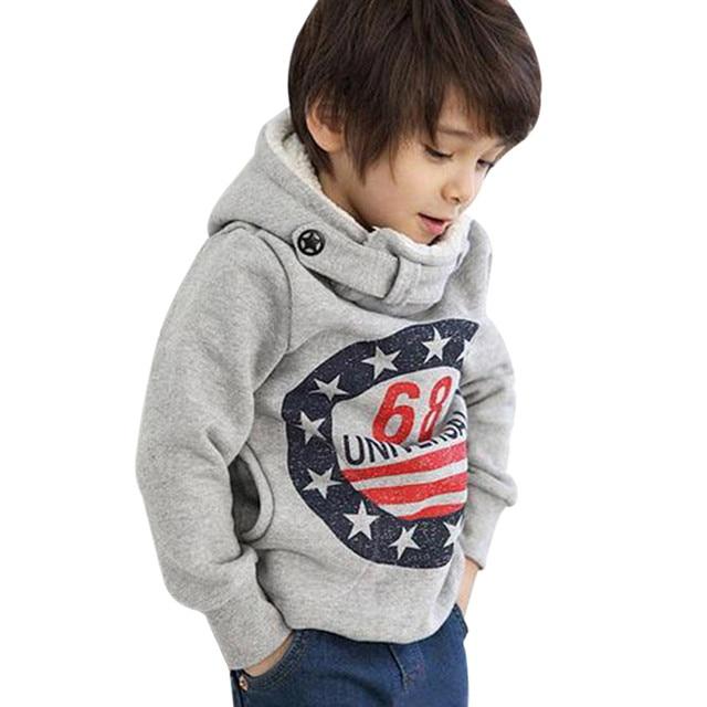 2018 ילדים תינוק בני נים בגדי ילדי חורף עבה חולצות פעוט מזדמן סוודר ילדים בתוספת קטיפה חולצות תלבושות # H3B2