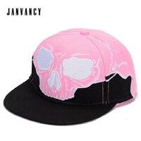 Panelled Hip Hop Snapback Hat with Raised skull embroidery Printing letter on undervisor Full Baseball Cap Adjustable Dad Hat