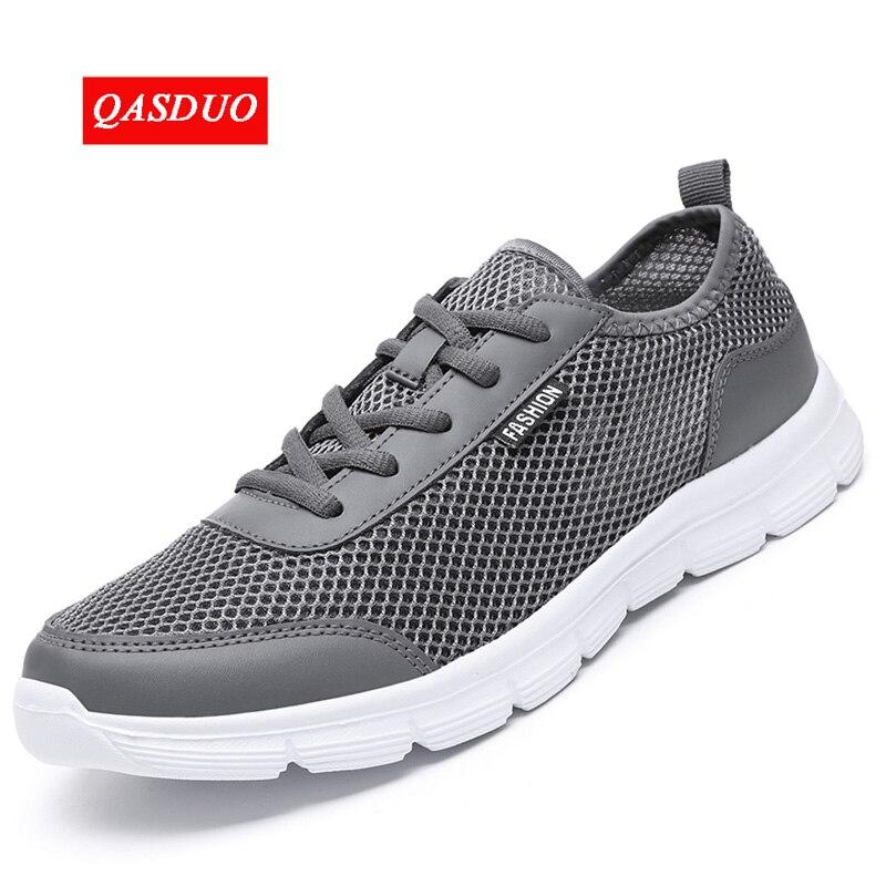QASDUO zapatillas para caminar al aire libre transpirables de moda de malla zapatos casuales pareja amante hombres zapatos de malla grandes zapatos de encaje de talla grande