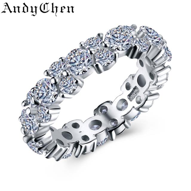 Rodada Pura Sólida Genuíno 925 Jóias de Prata 4.3 Grama rodada 1.2 Carat CZ Diamante Anéis de Noivado para As Mulheres Bague ASR448