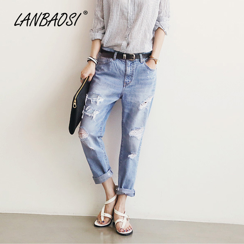 LANBAOSI Fashion Women s Torn Jeans Harem Pants Casual Loose Boyfriends Ripped Hole Vintage Denim Trousers