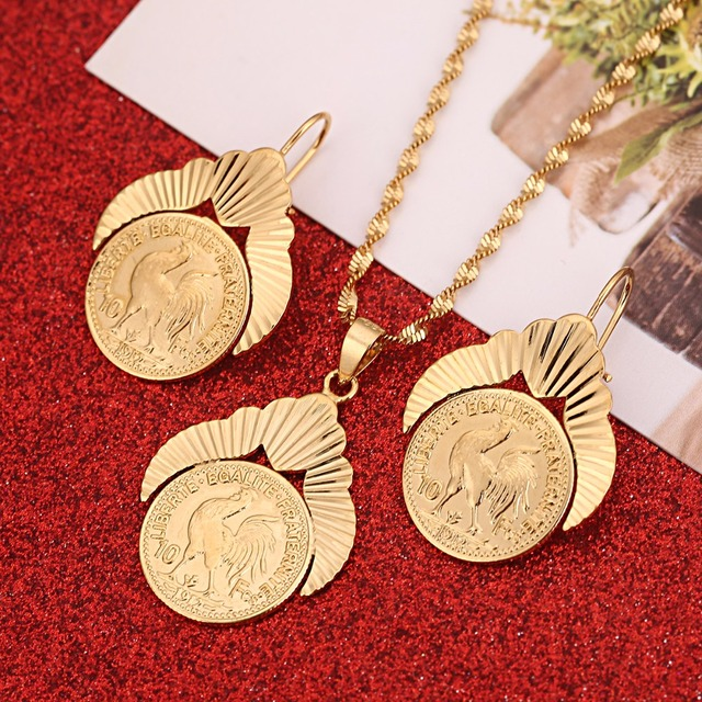 Old French Coin Liberte Egalite Fraternite 1912 Jewelry Sets Gold Color Metal Coins Women