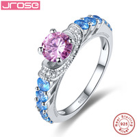 Jrose Retail Wholesale Engagement Blue Blue Topaz White CZ Diamond Solid 100 Real Pure S925 Sterling