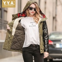 Warm Winter Womens Jacket Streetwear Olive Green Cotton Parkas Slim Hooded Women Coat PU Leather Long Sleeve Casaco Feminino