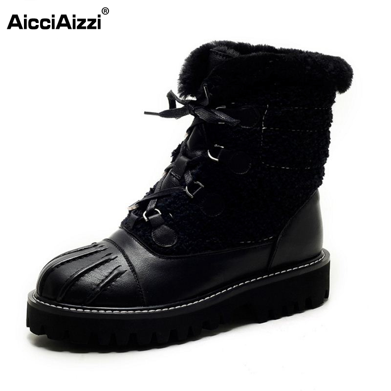 New Winter Genuine Real Leather Boots Women Flats Plush Ankle Snow Boots Feminina Casual Fashion Lace Up Women Shoes Size 34-39 front lace up casual ankle boots autumn vintage brown new booties flat genuine leather suede shoes round toe fall female fashion